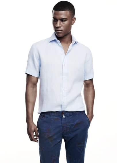 Slim-fit short sleeve linen shirt