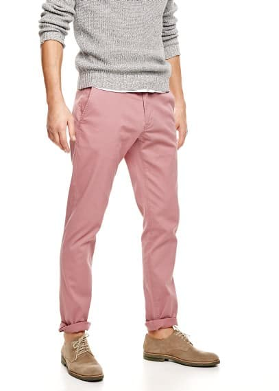 Slim-fit textured chinos