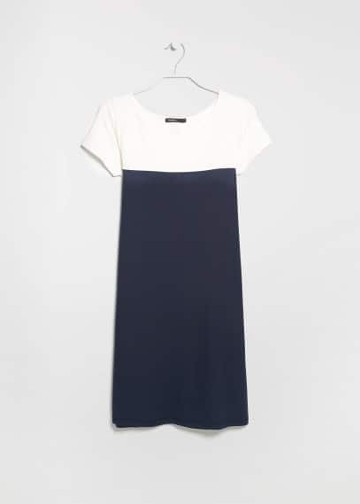 Straight-cut color block dress