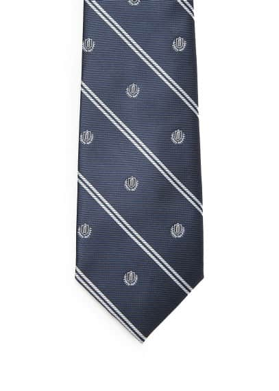Emblem-patterned striped tie