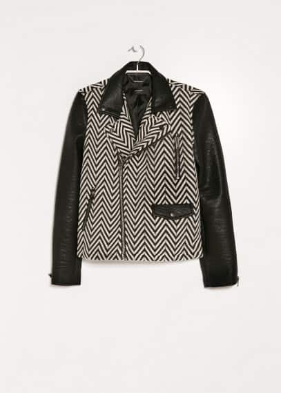 Faux leather detail herringbone jacket