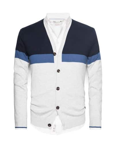 Cardigan coton color-block
