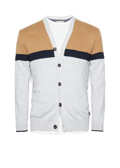 Color block cotton cardigan