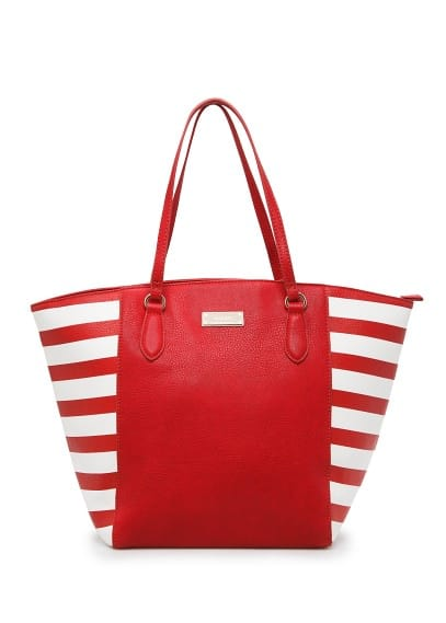 Striped panel shopper bag