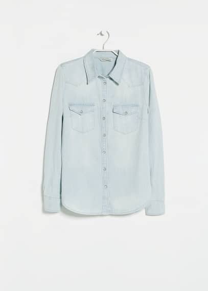 Bleached wash denim shirt