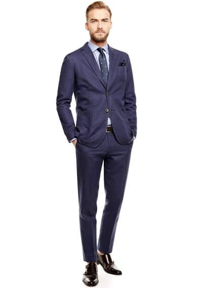 Linen cotton-blend suit blazer
