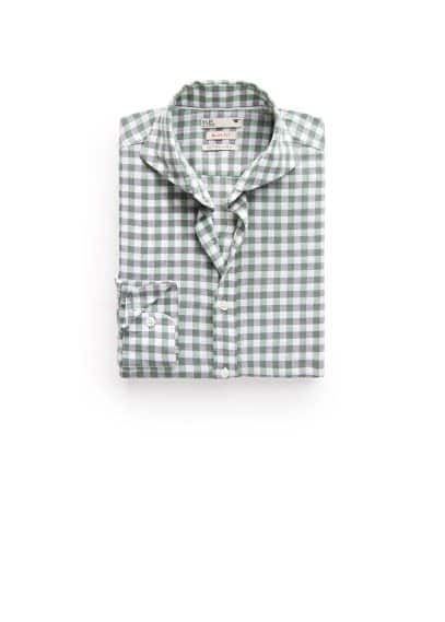 Slim-fit gingham check linen-blend shirt
