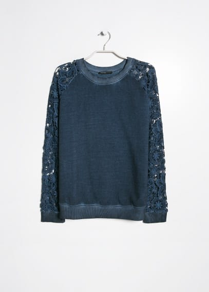 Sweat-shirt manches crochet