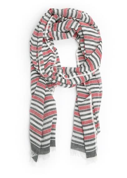 Striped cotton-blend scarf