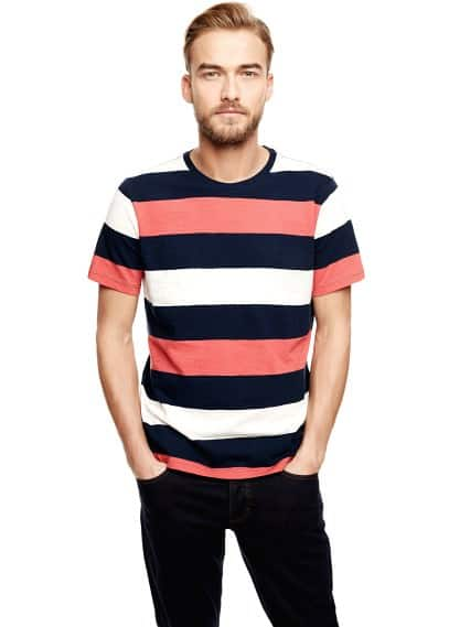 Gestreept colorblock T-shirt
