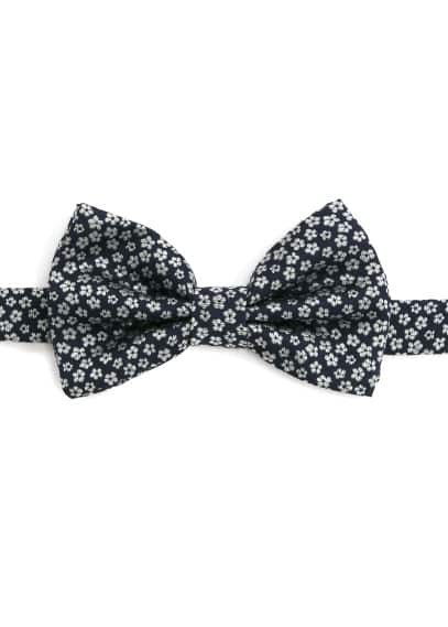 Flower-embroidered bow-tie