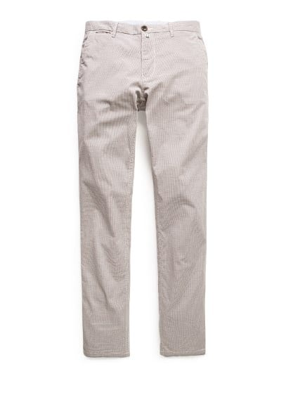 Geruite slim-fit chino