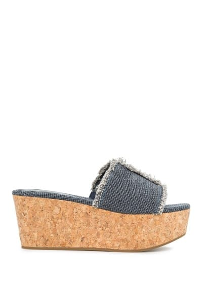 Wedge canvas mules