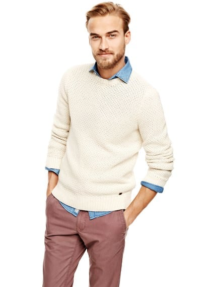 Textured knit cotton sweater