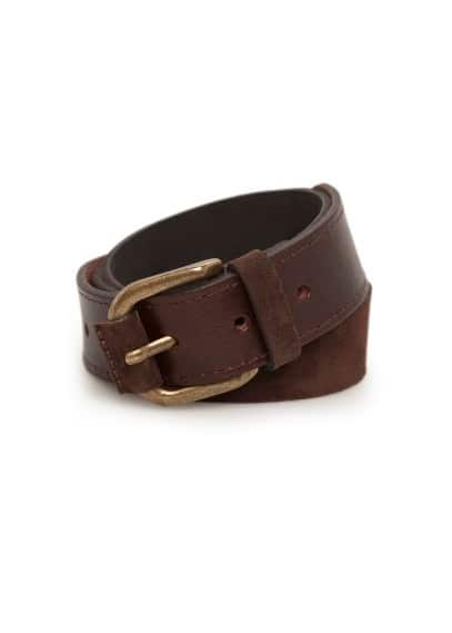 Suede and leather belt