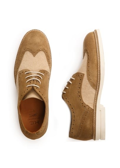 Suède en canvas brogue bluchers