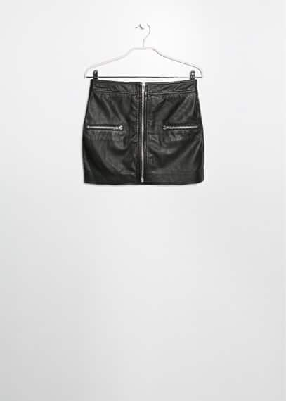 Zip leather miniskirt