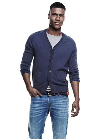 Two-pocket cotton cardigan