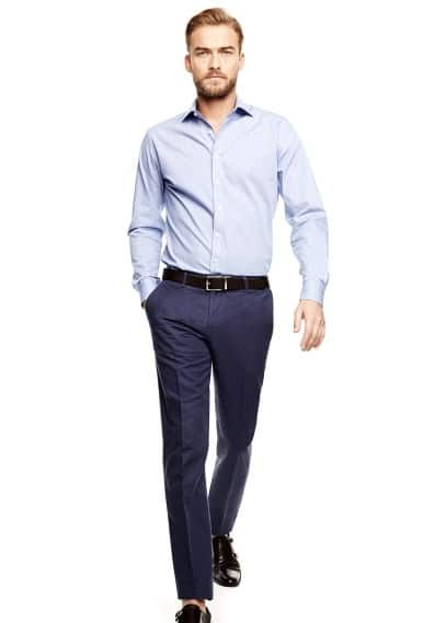 Linen cotton-blend suit trousers