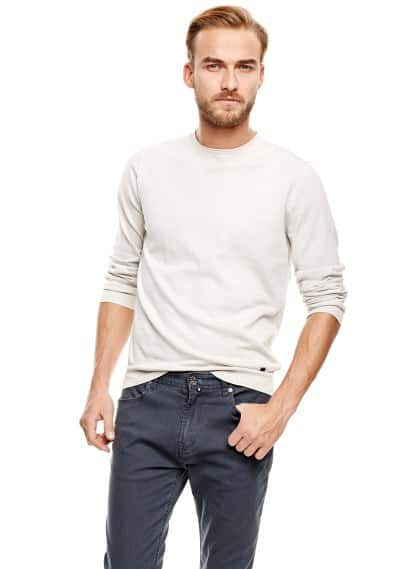Raw edge cotton sweater
