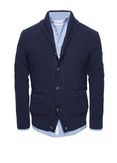 Textured knit cotton cardigan