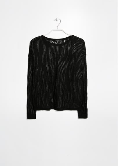 Metallic openwork sweater