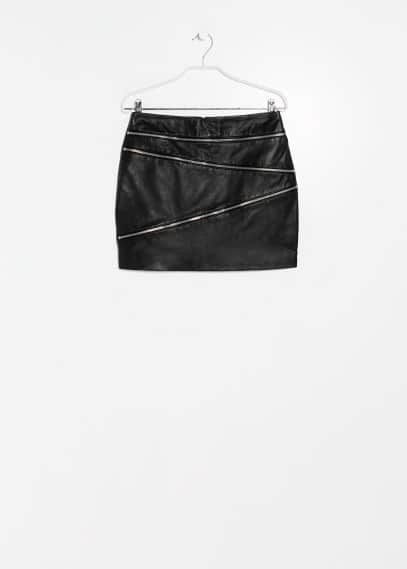 Zip leather skirt