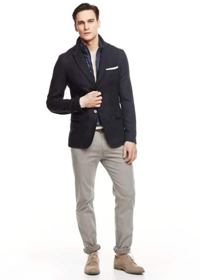 Quilted panel wool-blend blazer