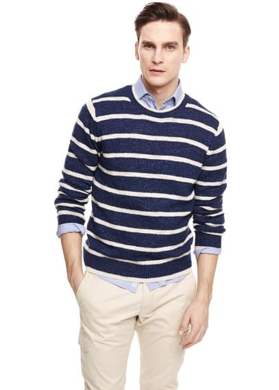 Striped flecked sweater