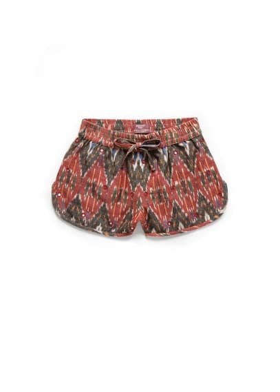Appliqué ethnic shorts