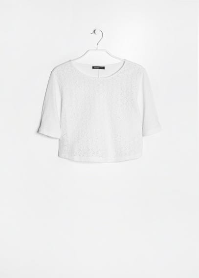 Camiseta cropped bordada