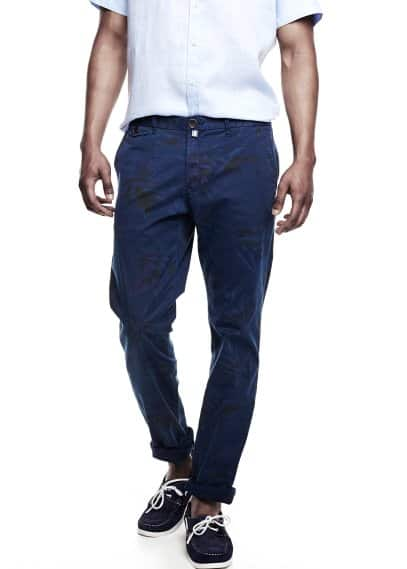 Pantalon chino slim-fit garment-dyed imprimé