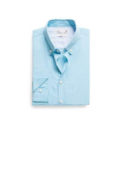 Slim-fit micro gingham check shirt