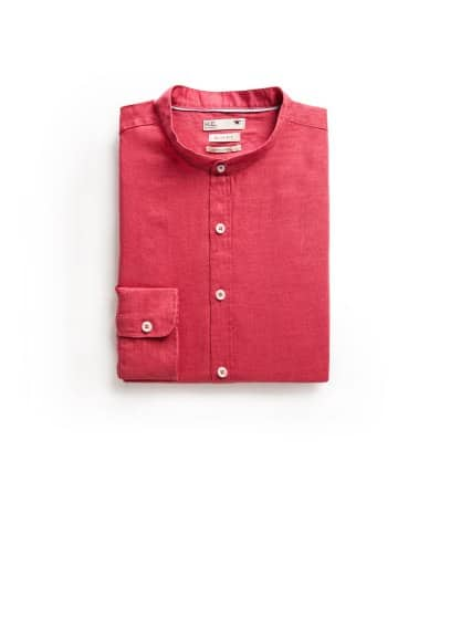 Slim-fit mao collar linen shirt