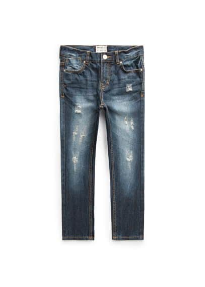 Jeans straight-fit oscuros rotos