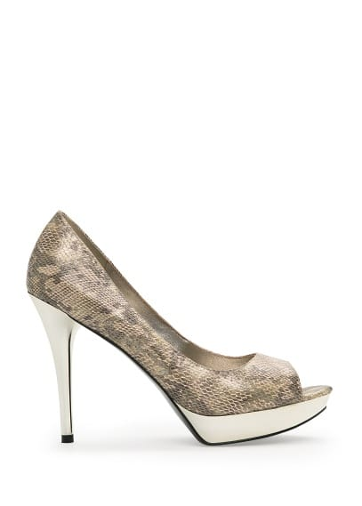 Metallic detail peep-toe shoes