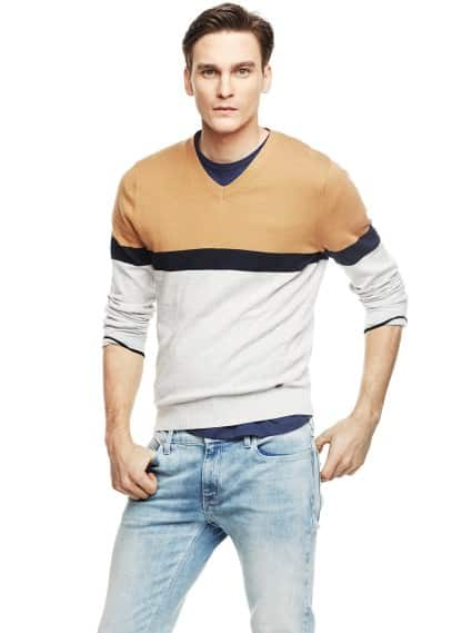 Color block cotton sweater