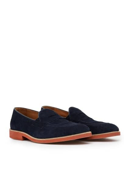 Contrast sole suede loafers