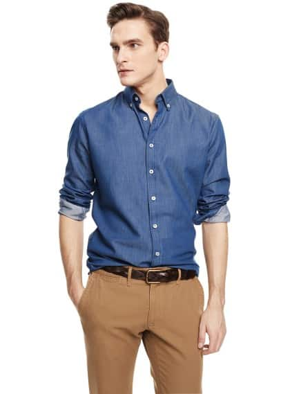 Slim-fit chambray shirt