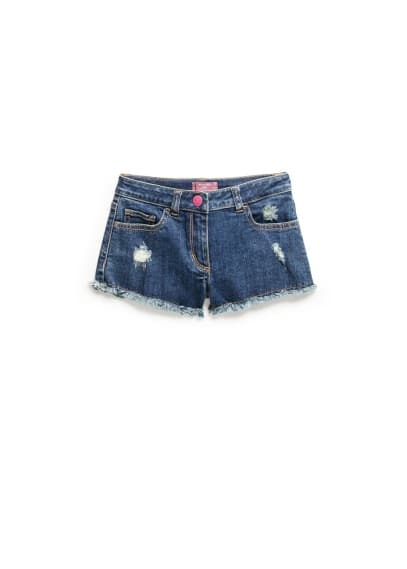 Short denim effiloché