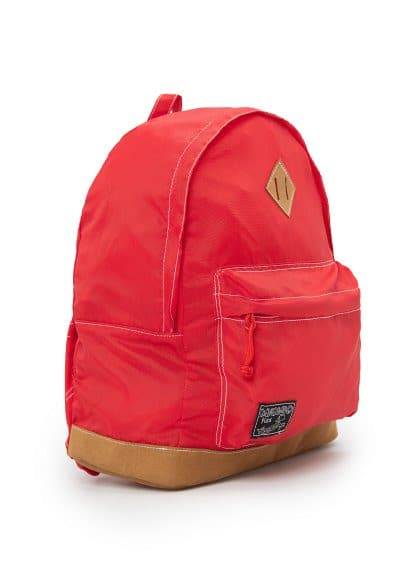 Faux suede panel backpack