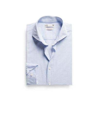 Chemise slim-fit seersucker carreaux