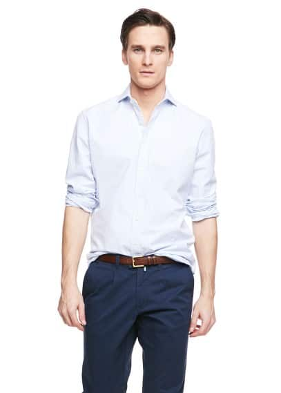 Camisa slim-fit seersucker quadrados