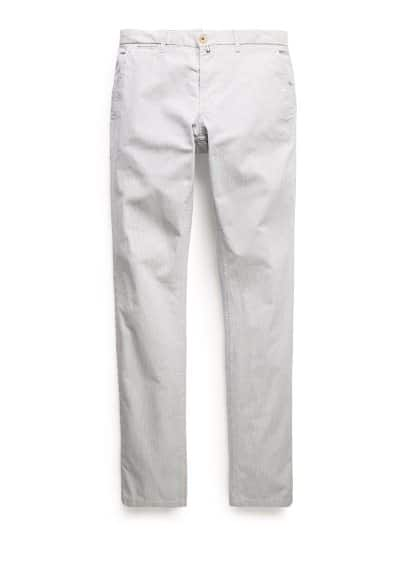 Slim-fit fine-striped chinos