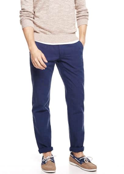 Slim-fit linen-blend chinos