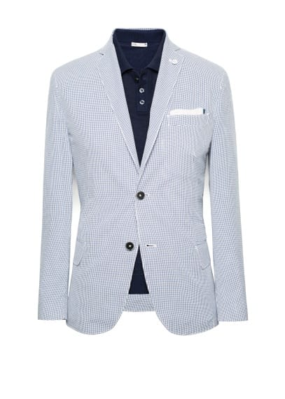 Elbow-patch micro check blazer