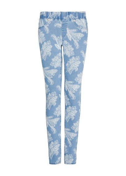 Printed medium wash jeggings