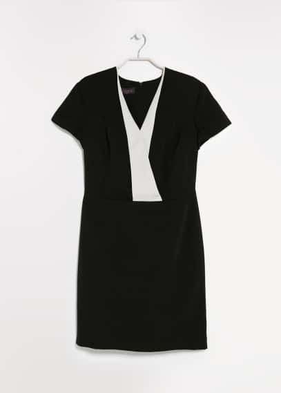 Contrast lapel dress