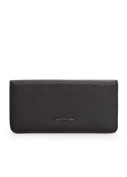 Folded saffiano-effect wallet