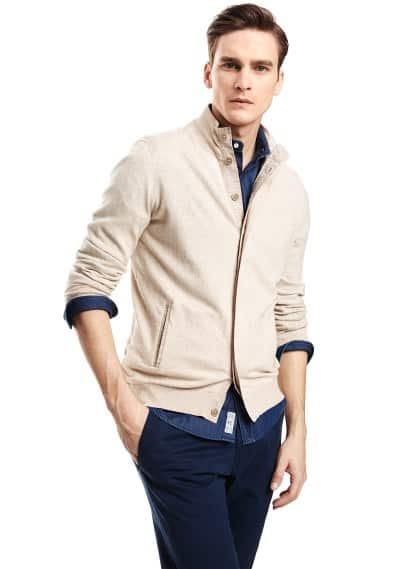 Contrast trim cotton cardigan
